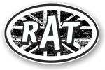 RAT Oval Funny Parody Design With B&W Union Jack British Flag Motif Vinyl Car sticker decal 120x77mm